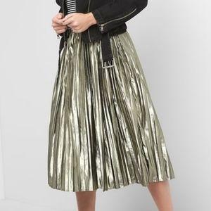 GAP Metallic Pleated Midi Skirt Medium